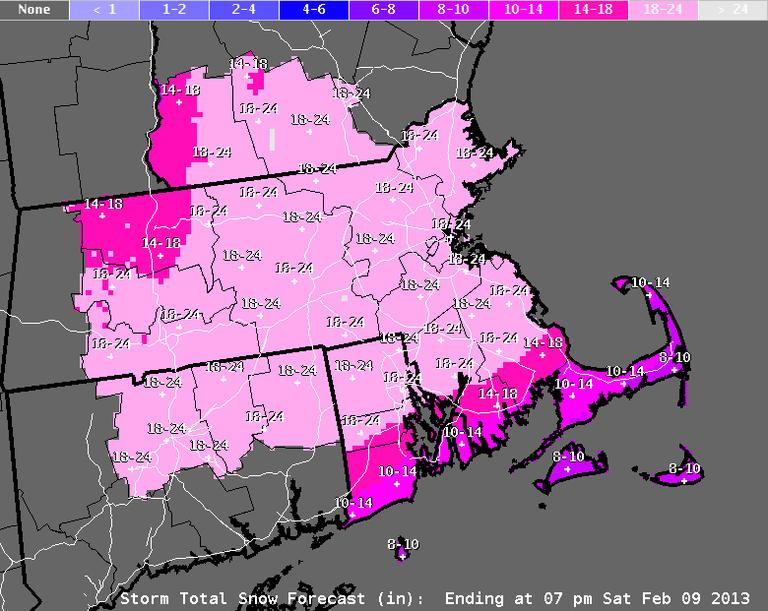 The snow forecast (as of 3:20 p.m. Wednesday) for Friday's anticipated storm (National Weather Service)