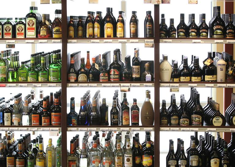 Bottles of liquor at a state-run liquor store in Seattle. (Ted S. Warren/AP)