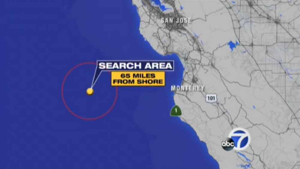 The Coast Guard estimates that the radio signal from the sinking boat came from about 60 miles west of Monterey. (Screenshot from ABC-affiliate KGO-TV in San Francisco)
