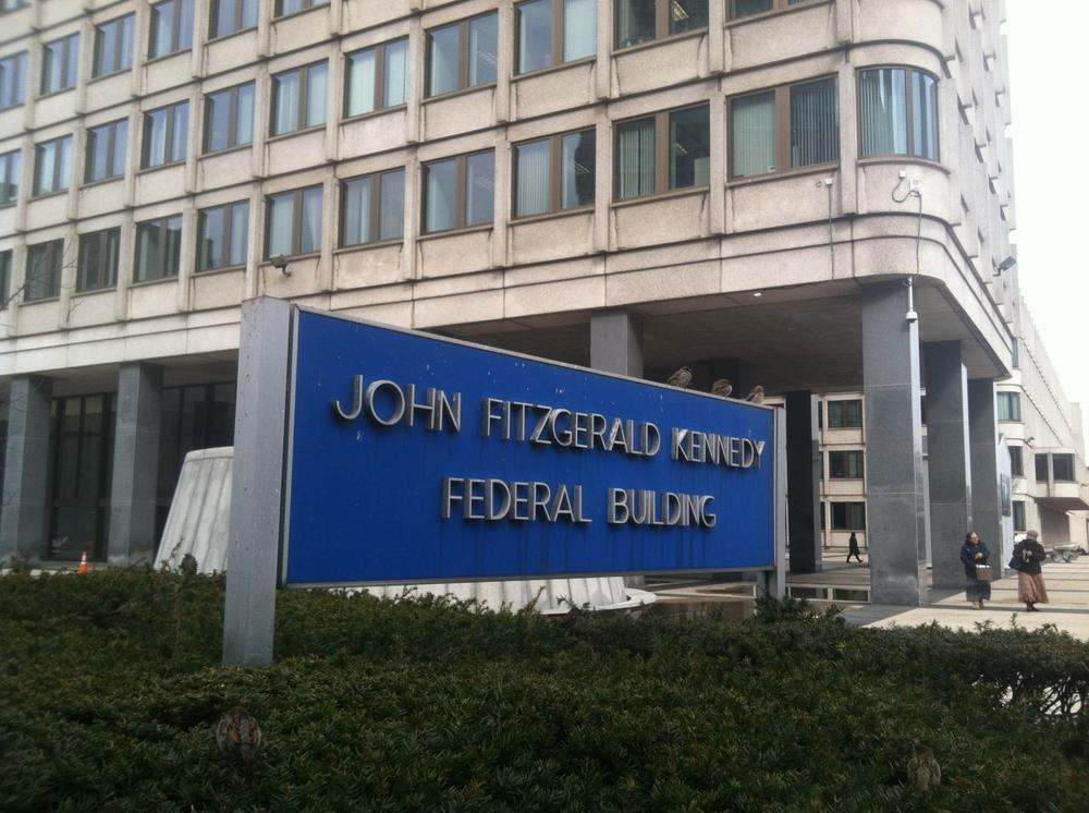 Thousands of government employees at the John F. Kennedy Federal Building in Boston are bracing for furloughs. (Curt Nickisch/WBUR)