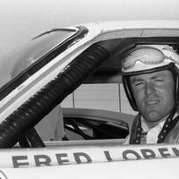 NASCAR superstar Fred Lorenzen in his Holman Moody Ford prior to the start of the 1966 Atlanta 500