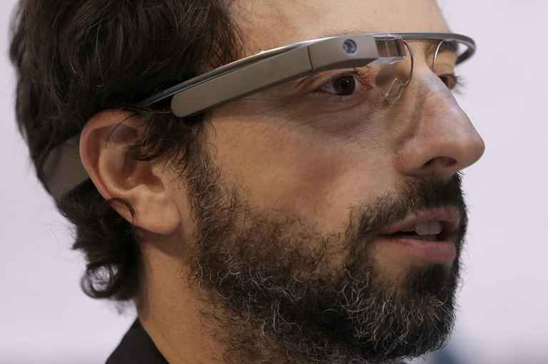 Google co-rounder Sergey Brin wears Google Glass glasses at an announcement for the Breakthrough Prize in Life Sciences at Genentech Hall on UCSF's Mission Bay campus in San Francisco, Wednesday, Feb. 20, 2013. (AP)