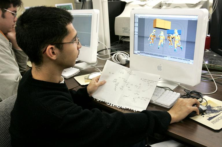 C.K. McClatchy High School senior Anthony Beanes, 18, works on a computer animation project in a three-dimensional animation class in Sacramento, Calif., part of the school's vocational education program. (AP)