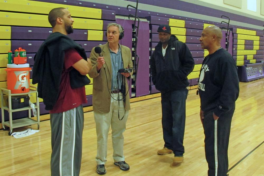 Jamil Abdullah (left), Ka'reem Horton (second from right), and Malcolm Wynn (right), joined Bill Littlefield to reflect on the 2000-01 Roxbury Community College basketball season. (Only A Game)