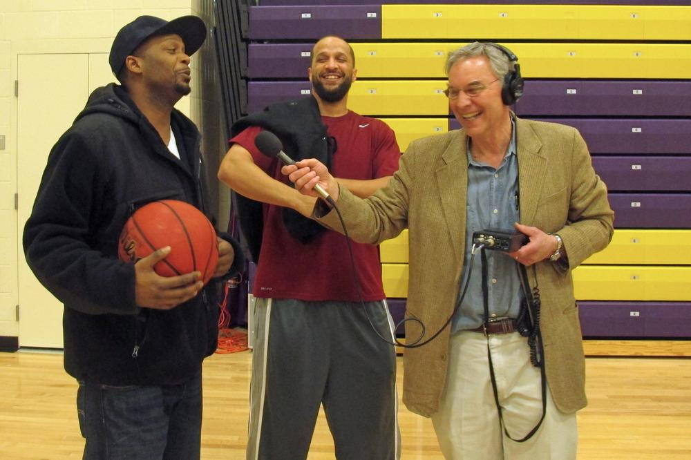 Horton (left) and Abdullah (center) share a laugh with Bill Littlefield. (Only A Game)