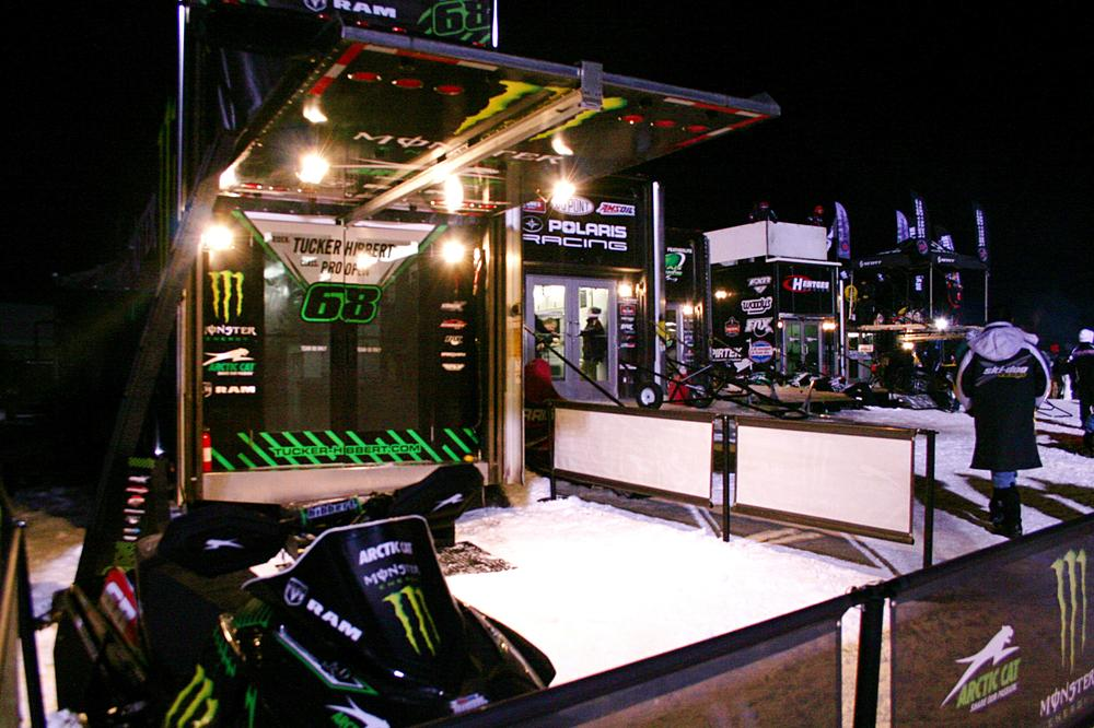 The pit area at a snowmobile racing event in Michigan last weekend. (Neal Steeno/Only A Game)