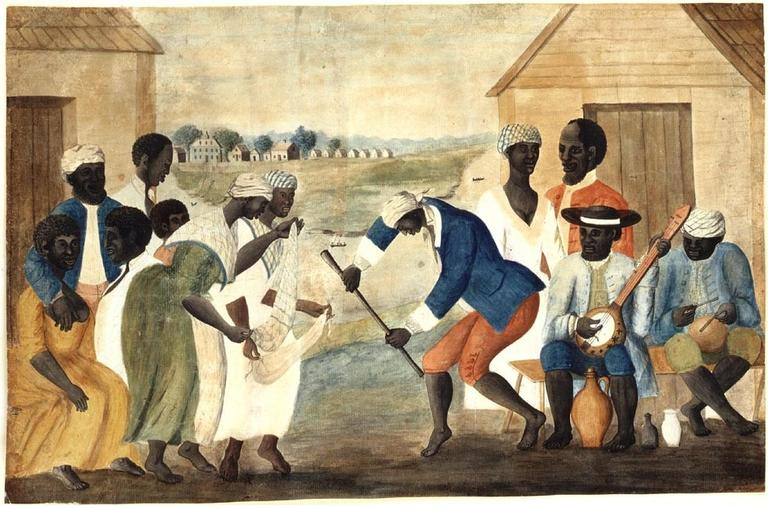 The Old Plantation (anonymous folk painting). Depicts African-American slaves dancing to banjo and percussion. (Wikipedia)