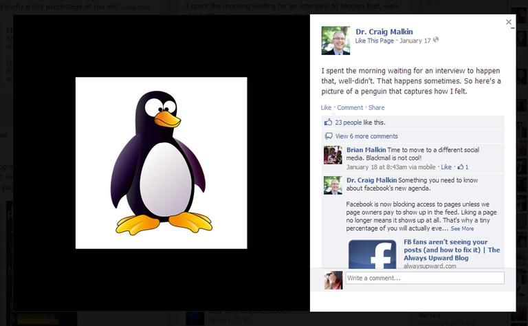 """After waiting for an interview to happen that didn't, Craig Malkin posted this illustration of a penguin to show how he felt. He received 23 likes and six comments, which he said made him feel """"pretty good."""" (Click to enlarge)"""