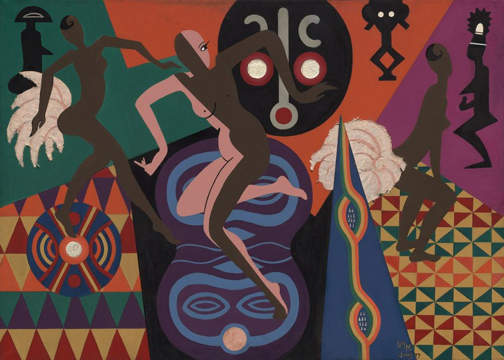"""Loïs Mailou Jones """"La Baker,"""" 1977, acrylic and collage on canvas (Courtesy of the Museum of Fine Arts)"""