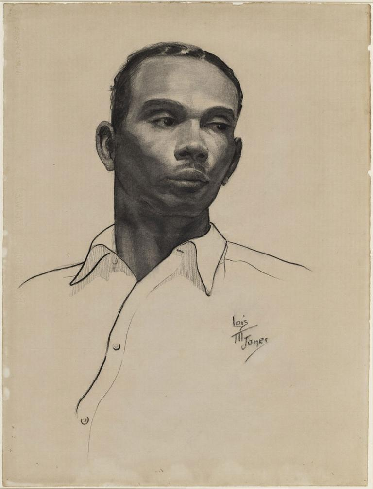 """Loïs Mailou Jones """"Negro Student,"""" 1934, charcoal on paper (Courtesy of the Museum of Fine Arts, Boston)"""