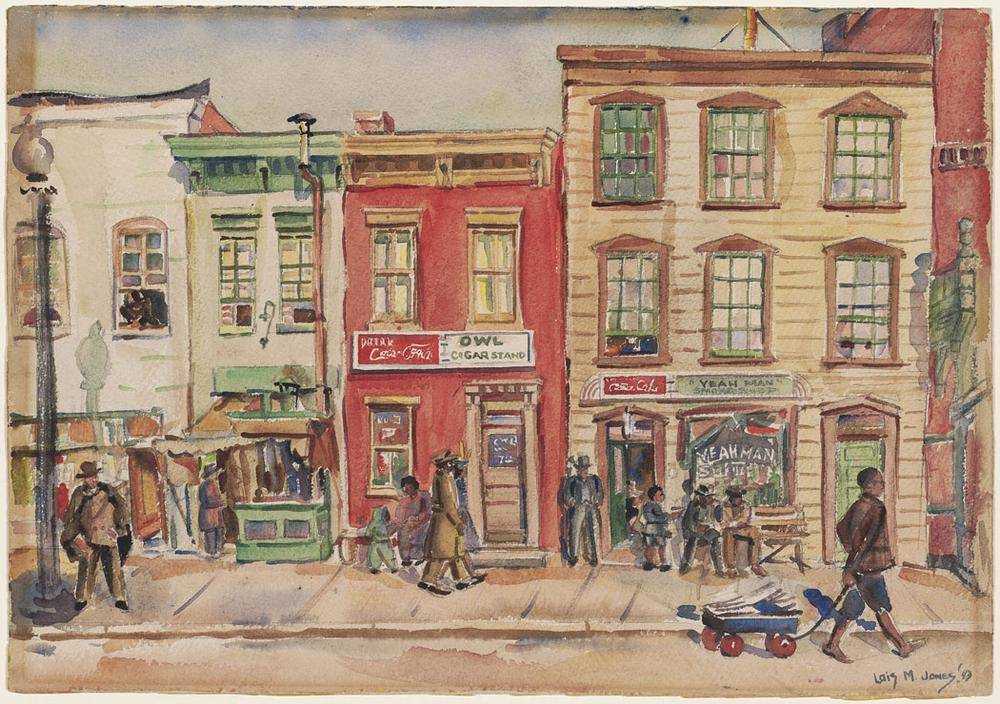 """Loïs Mailou Jones """"Seventh Street Promenade,"""" 1943, watercolor with graphite underdrawing on paper (Courtesy of the Museum of Fine Arts, Boston)"""