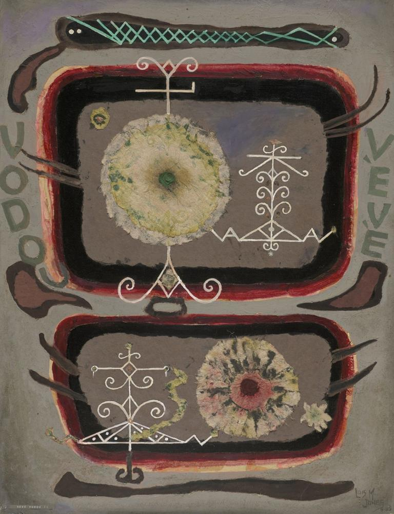 """Lois Mailou Jones """"Veve Voudou II,"""" 1963, oil and collage on canvas (Courtesy of the Museum of Fine Arts, Boston)"""