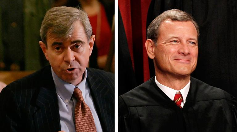 Massachusetts Secretary of State William Galvin, left, is pictured in 2007. Chief Justice John Roberts, right, is seen during a group portrait at the Supreme Court Building in 2010. (AP)