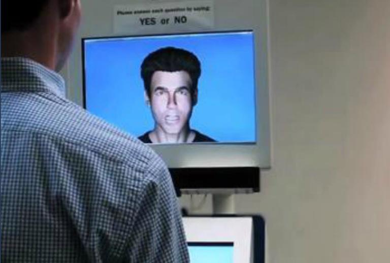 An image from a demonstration of the Embodied Avatar, from a video by BORDERS, the National Center for Border Security and Immigration at the University of Arizona.
