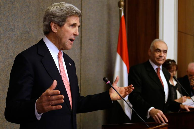U.S. Secretary of State John Kerry speaks to the media with Egyptian Foreign Minister Mohammed Kamel Amr, at the Ministry of Foreign Affairs in Cairo, Egypt on Saturday, March 2, 2013. (Jacquelyn Martin, Pool/AP)
