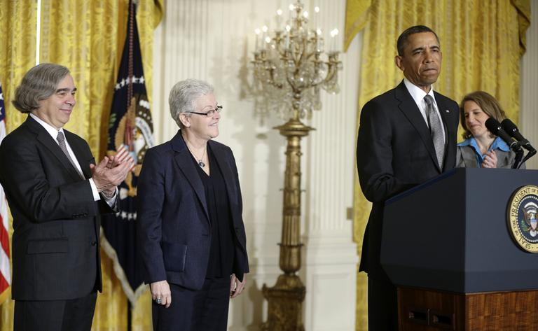 President Obama announced Monday he would nominate, from left: MIT physics professor Ernest Moniz for energy secretary, Gina McCarthy to head the EPA, and Walmart Foundation President Sylvia Mathews Burwell to head the budget office. (Pablo Martinez Monsivais/AP)