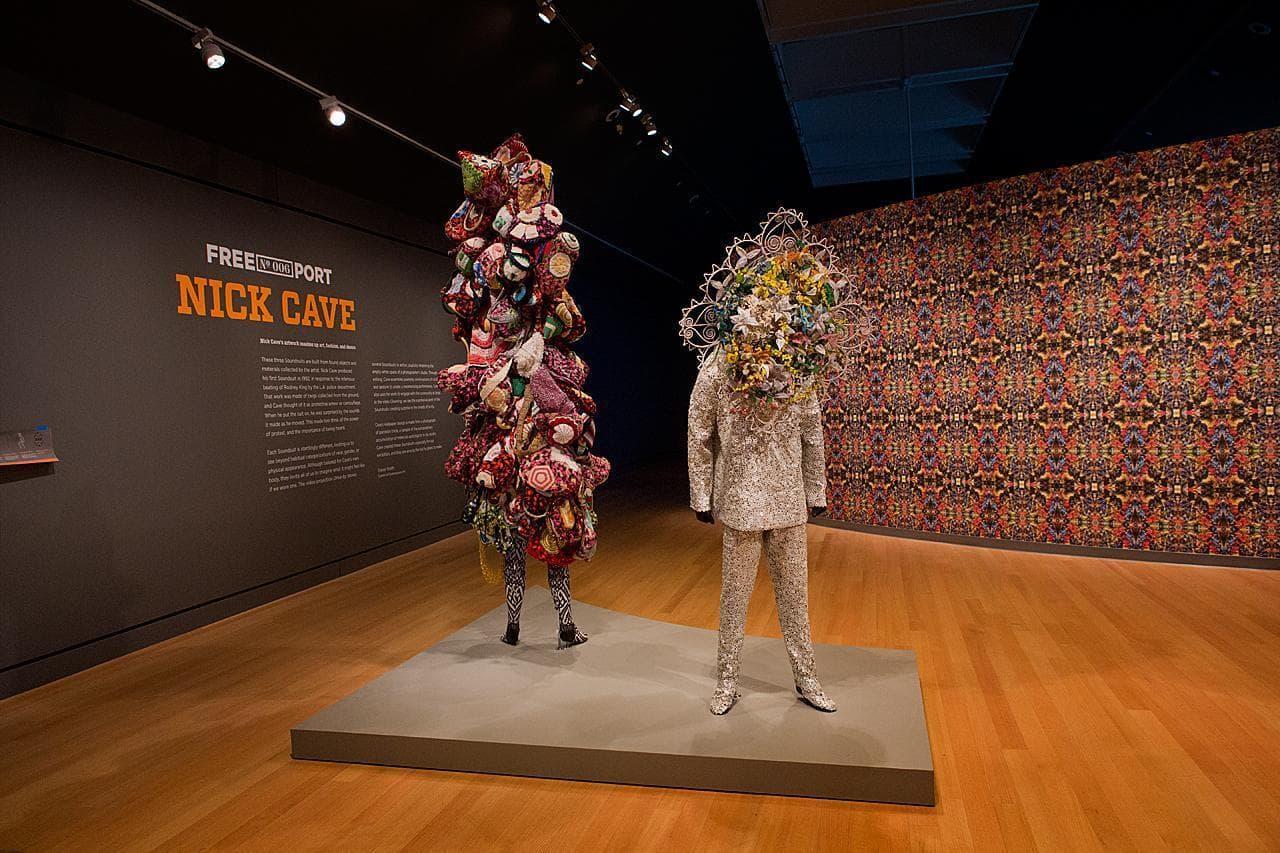 Nick Cave's Soundsuit exhibition at the Peabody Essex Museum in Salem (Jesse Costa/WBUR)