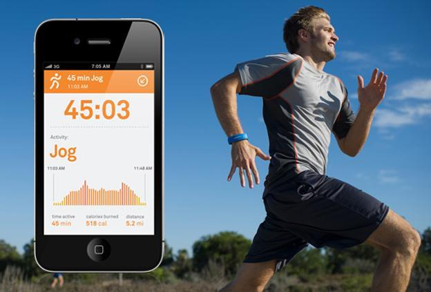 A promotional image of the Larklife wristband and app, which monitor exercise, diet and sleep. (lark.com)
