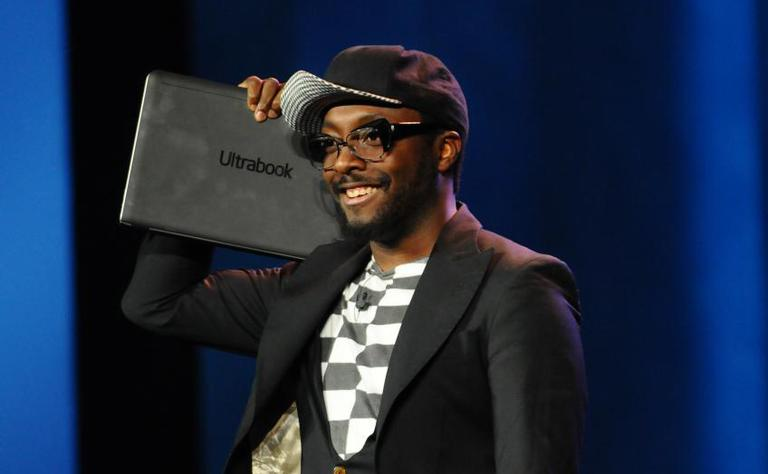 Hip hop artist will.i.am is pictured holding Intel's Ultrabook. He has a new gig as director of creative innovation at Intel. (intel.com)