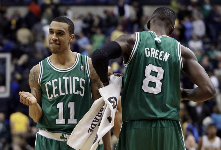 Boston Celtics' Courtney Lee (11) and Jeff Green react after Boston defeated Indiana 83-81. (Darron Cummings/AP)