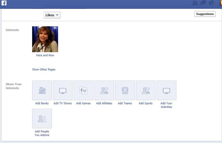 """A screenshot of the """"Interests"""" section on Facebook, where you can add Here & Now. (Click to enlarge)"""