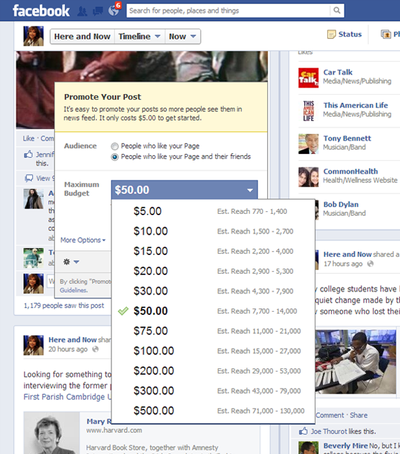 A screenshot of the pay-to-promote options offered to Here & Now's Facebook page for a post on Friday morning, Mar. 8, 2013. (Click to enlarge)