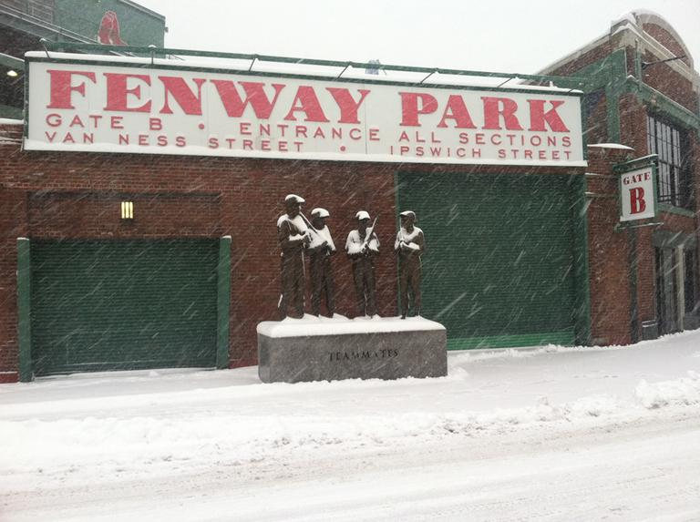 Spring may be near, but Fenway Park is still covered in snow Friday morning. (Delores Handy/WBUR)