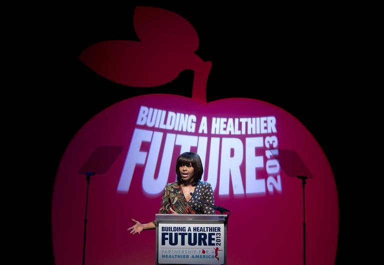 First lady Michelle Obama speaks at the Partnership for a Healthier America's second Building a Healthier Future Summit on childhood obesity, Friday, March 8, 2013. (Carolyn Kaster/AP)