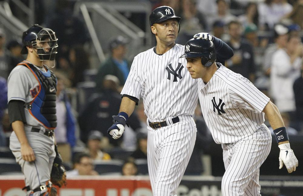 Derek Jeter (center) may be back out on the diamond again after recovering from a broken ankle, but Mark Teixeira (right) has become the latest Yankee to go down with an injury. (Frank Franklin II/AP)