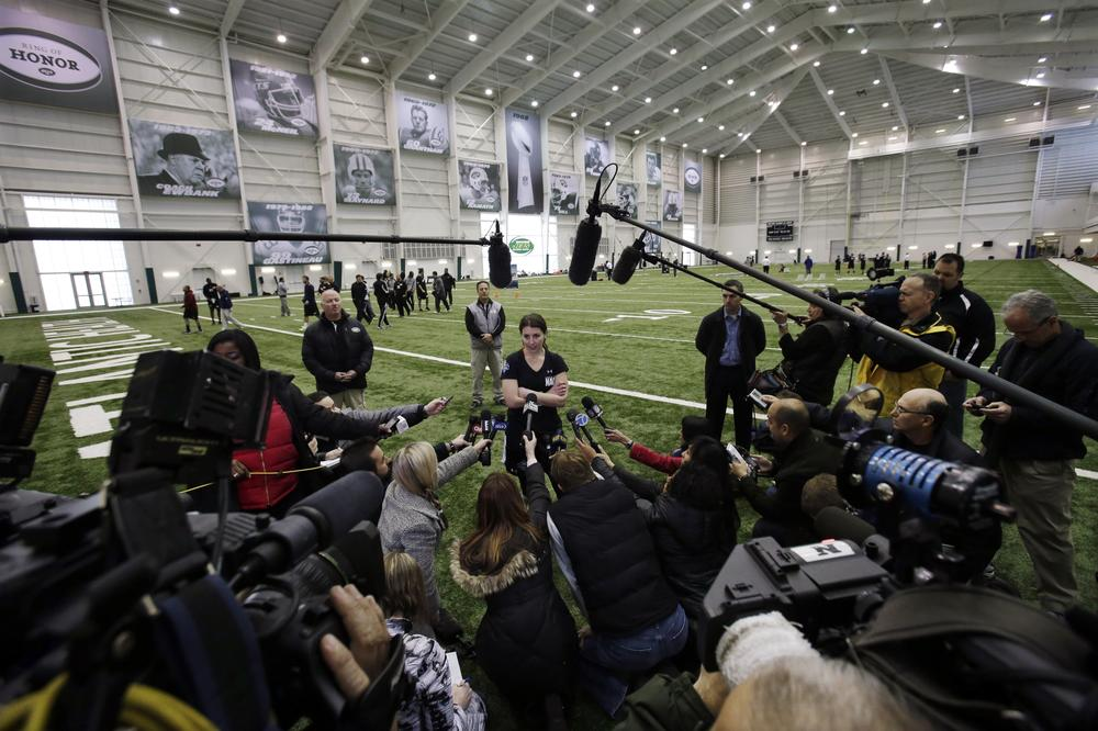 Lauren Silberman's two kicks during an NFL regional combine workout were way off the mark, but she still attracted a lot of media attention at the New York Jets' training facility in New Jersey. (Mel Evans/AP)