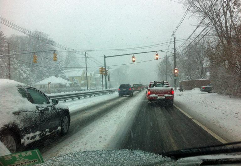 The morning commute on Route 9 on Friday. (Thomas Melville/WBUR)