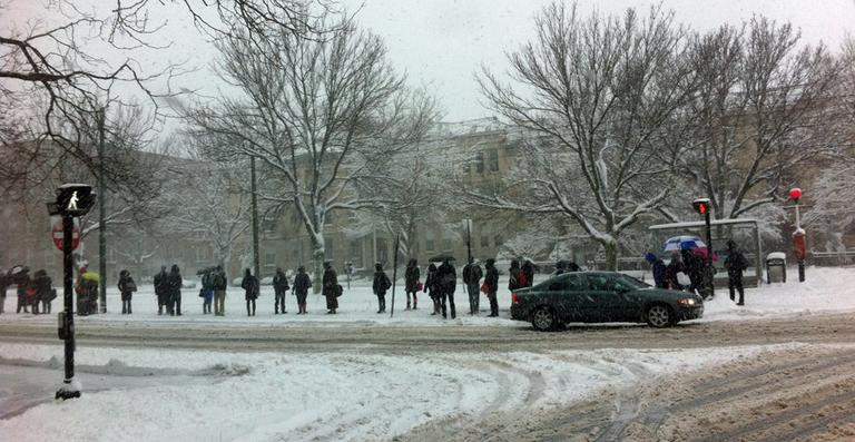 A crowd waits for the MBTA green line trolley on Beacon Street in Brookline Friday morning. (Thomas Melville/WBUR)
