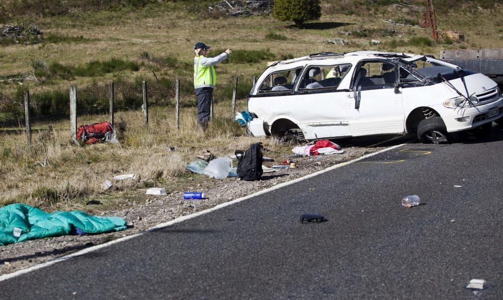 Three Boston University students were killed and others injured in a van crash on May 12, 2012 near Turangi, New Zealand. (John Cowpland/New Zealand Herald/AP)