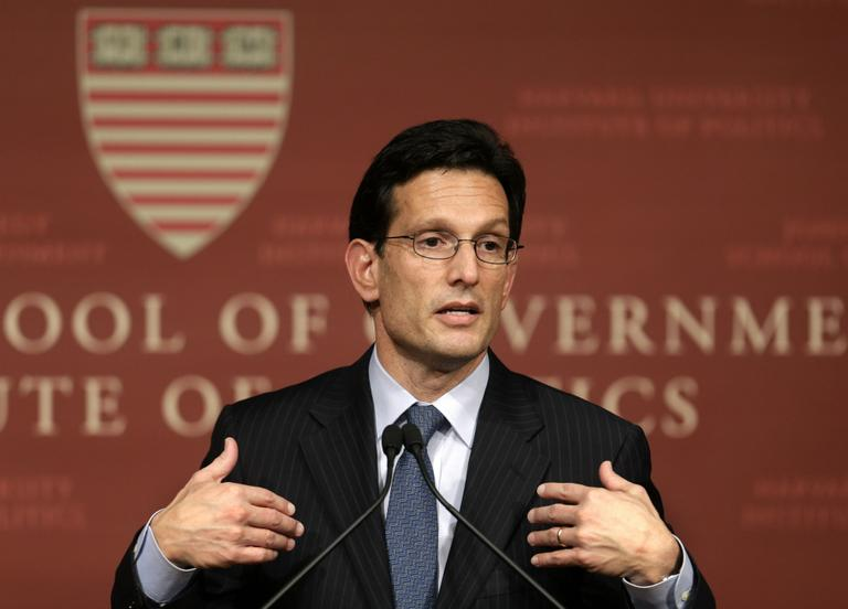 House majority leader Eric Cantor, of Va., speaks at the John F. Kennedy School of Government at Harvard University, in Cambridge, Mass., Monday, March 11, 2013. (Steven Senne/AP)
