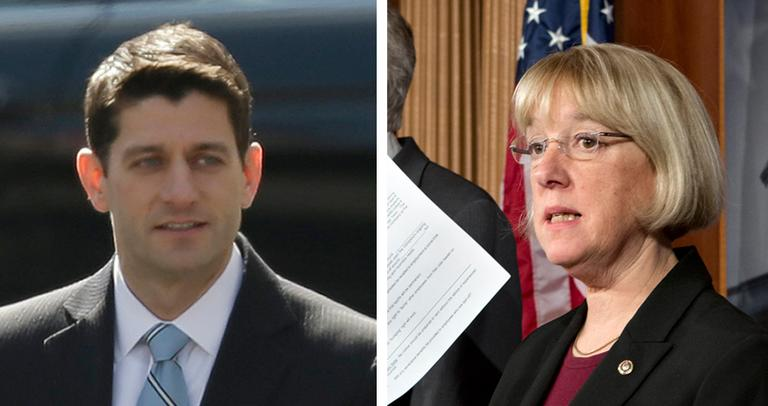 House Budget Committee Chair Rep. Paul Ryan, left, arrives at the White House for a lunch with the president on March 7, 2013. At right, Senate Budget Committee Chair Sen. Patty Murray speaks at a press conference on Feb. 28, 2013. (AP)