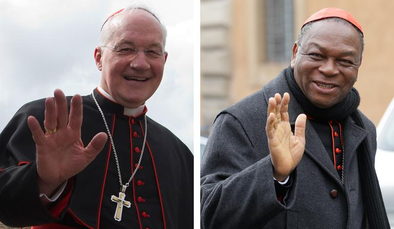 "Cardinal Marc Ouellet of Canada, left, and Cardinal John Onaiyekan of Nigeria, right, are the two finalists in Religion News Service's ""Pope Madness"" tournament. (AP)"