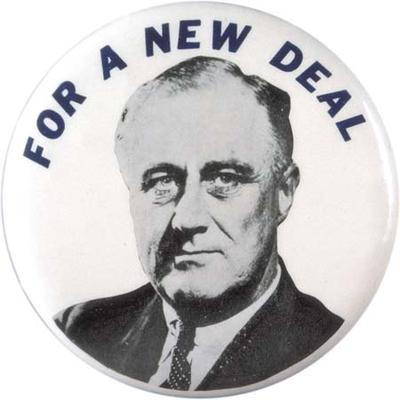 Franklin D. Roosevelt New Deal pin, 1932. (Collection of David J. and Janice L. Frent)