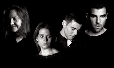 """The cast of """"The Glass Menagerie."""" From left: Cherry Jones, Celia Keenan-Bolger, Brian J. Smith and Zachary Quinto (click to enlarge). (American Repertory Theater)"""