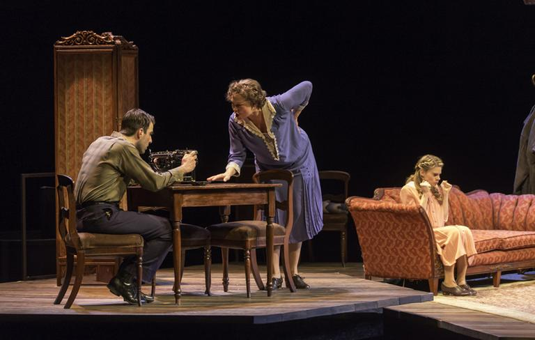 """From left, Zachary Quinto as Tom, Cherry Jones as Amanda and Celia Keenan-Bolger as Laura, are pictured in a scene from the A.R.T's """"The Glass Menagerie."""" (Michael J. Lutch)"""