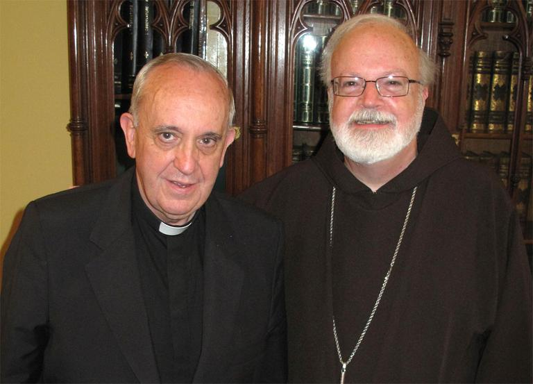 Boston Cardinal Sean O'Malley, right, meets with Cardinal Jorge Bergoglio (now Pope Francis) at his residence in Buenos Aires in December 2010. (Courtesy CardinalSeansBlog.org)