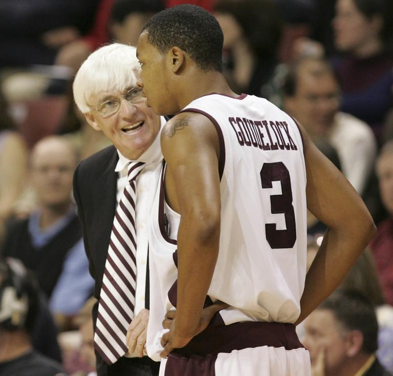 Bobby Cremins coached for College of Charleston from 2006-2012. He's pictured here in December 2008 talking to Andrew Goudelock (3) during an NCAA game against Davidson in Charleston, S.C. (Mary Ann Chastain/AP)