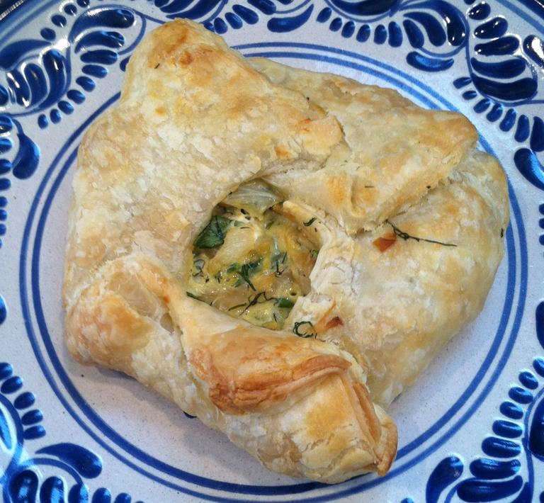 """Kathy's """"Greek-Style Cabbage with Caramelized Onion Dill Crostada."""" (Kathy Gunst/Here & Now)"""
