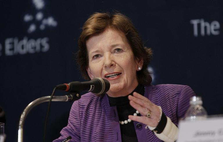 Former Irish President Mary Robinson answers reporters' questions in Seoul, South Korea, following a trip to North Korea in April 2011. (Lee Jin-man/AP)