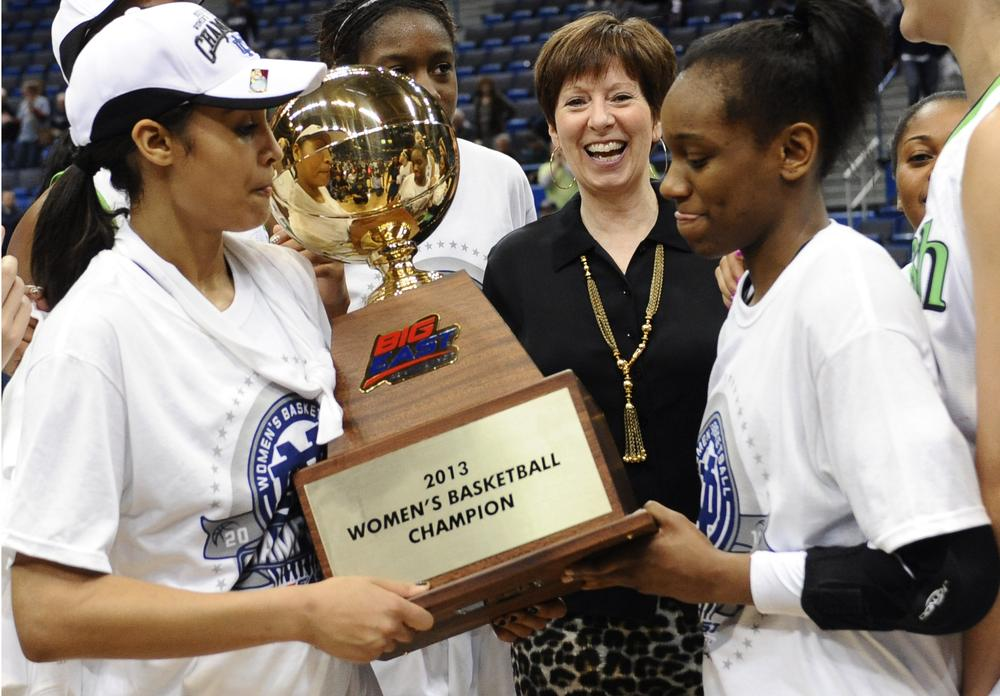 The No. 2 Notre Dame women's basketball team and Skylar Diggins (left) defeated UConn to win its first ever Big East tournament championship. (Jessica Hill/AP)