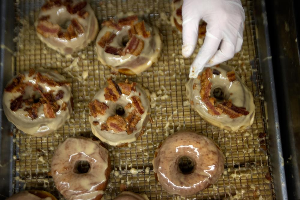 The maple bacon doughnut is the shop's most expensive and most popular flavor. (Jesse Costa/WBUR)