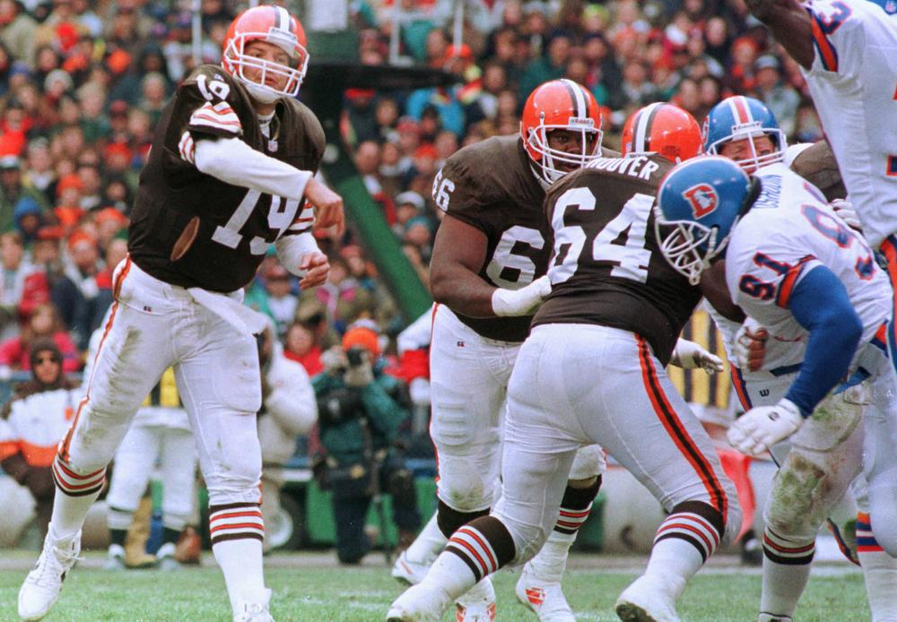 Will former Browns quarterback Bernie Kosar get his own statue in Cleveland? At least one <em>Only A Game</em> listener seems to think so. (Mark Duncan/AP)