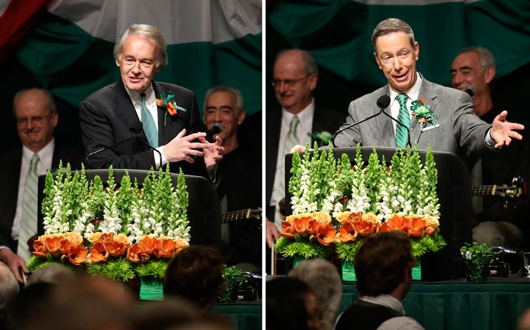 U.S. Reps. Edward Markey and Stephen Lynch joke with the crowd during the annual St. Patrick's Day breakfast in South Boston, Sunday, March 17, 2013. (Steven Senne/AP)