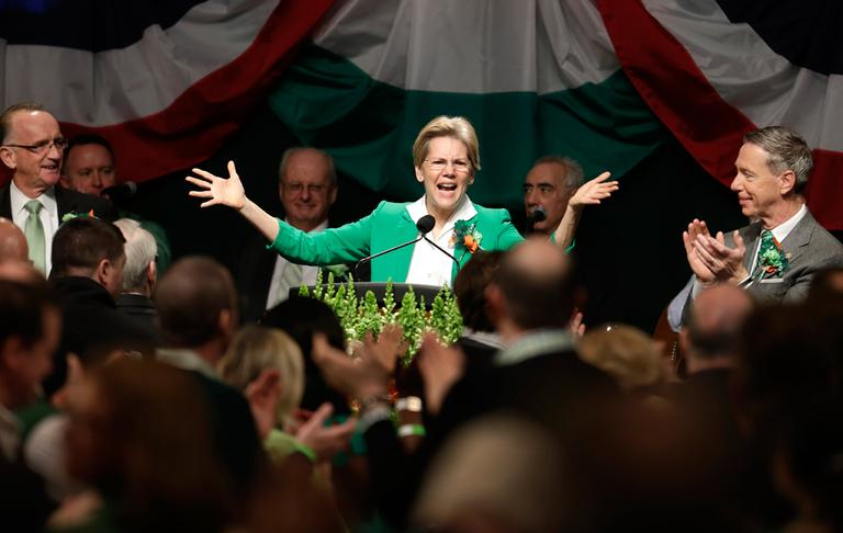 Sen. Elizabeth Warren spoke at the annual breakfast Sunday. (Steven Senne/AP)