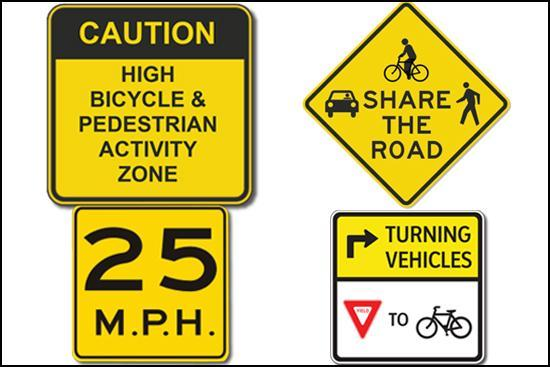 Warning signs to improve safety will be installed on Commonwealth Avenue. (Courtesy of Tetra Tech)