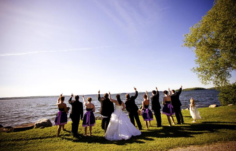 A wedding party is pictured on the south shore of Rice Lake, east of Toronto, in May 2010. (Stacey Wight/AP)